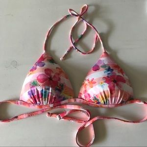 Pink White Striped Floral Triangle Bikini Top
